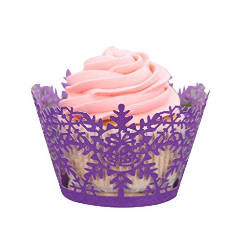 AMA(TM) 24Pcs Christmas Hollow Lace Cupcake Wrapper Liner Baking Cup Muffin Cake Paper Case Wraps DIY Cake Cup (Purple)