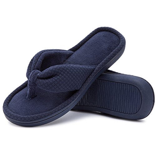 Women's Cozy Memory Foam Plush Gridding Velvet Lining Spa Thong Flip Flops Clog Style House Indoor Slippers (Medium/7-8 B(M) US, Light Navy Blue) by ULTRAIDEAS