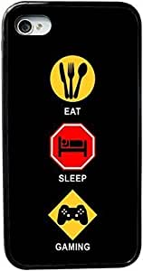 KOKOJIA Eat Sleep Gaming Design iPhone 4 & 4s Black Case Cover (Black pc with bumper protection) for Apple iPhone 4 & 4s