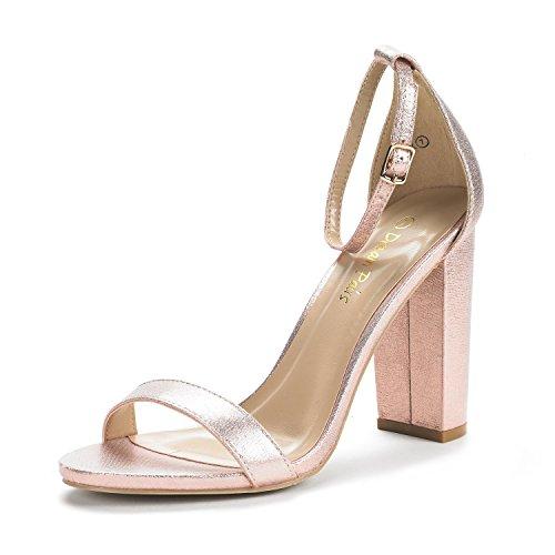 DREAM PAIRS Women's Hi-Chunk Champagne Pearl High Heel Pump Sandals - 7.5 M US