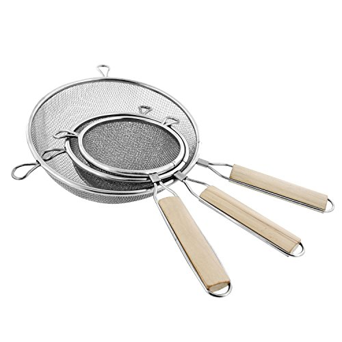 U.S. Kitchen Supply - Set of 3 Premium Quality-Double Mesh Extra Fine Stainless Steel Strainers with Comfortable Wooden Handles, 4