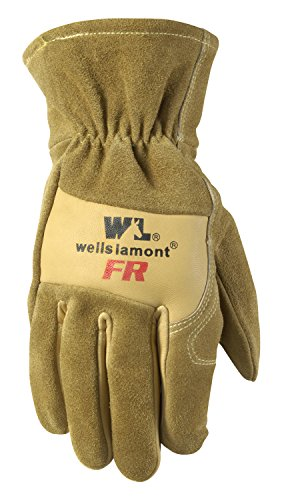 Wells Lamont Flame Resistant Leather Work Gloves, Cowhide, Large, Tan (1011L)