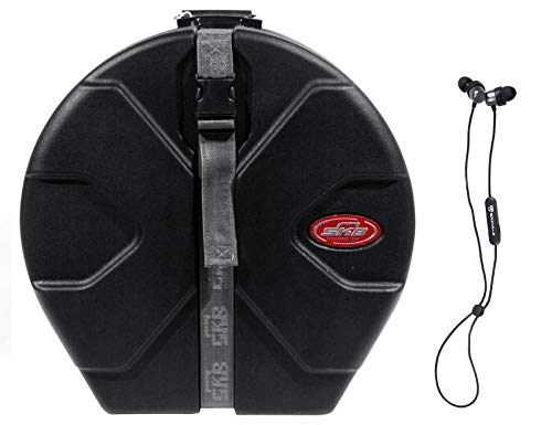SKB 1SKB-D6514 Roto-molded 6.5 x 14 Padded Snare Drum Case+Bluetooth EarBuds