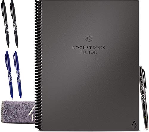 Rocketbook Fusion Smart Reusable Notebook Bundle with 5 Pens and 1 Microfiber Cloth Included (Gray, Letter)