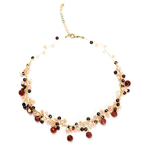 Handmade Multi-Colored Gemstones Beads Silk Thread Cluster Women Necklace 17