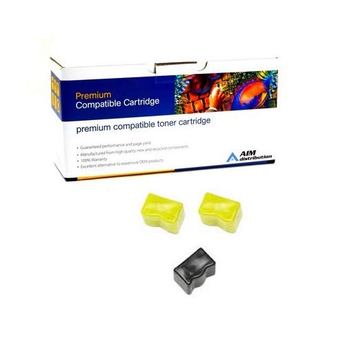 AIM Compatible Replacement for Xerox Phaser 840 Color Solid Ink Sticks (2 Yellow/1 Black) (2344 Page Yield) (016-1584-00) - Generic