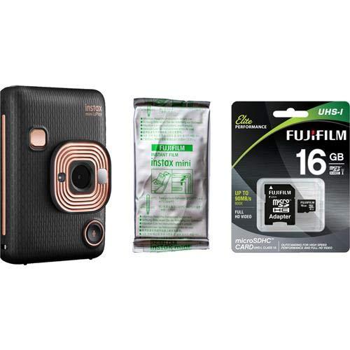 Fujifilm INSTAX Mini LiPlay Hybrid Instant Camera with Film and Memory Card Bundle, Elegant Black