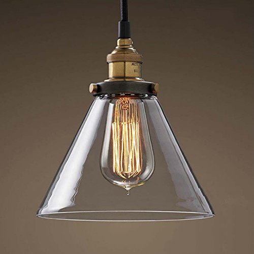Modern Glass Shade Ceiling Light with Contemporary and Vintage Design Elements,Cone Shape Pendant Light Fixture 1-Light