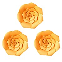 Daily Mall Paper Flower Decorations Giant Wedding Flowers Party Flower Backdrop DIY Handcrafted Flower for Nursey Birthday Wall Decor (Orange, 3pcs-16)