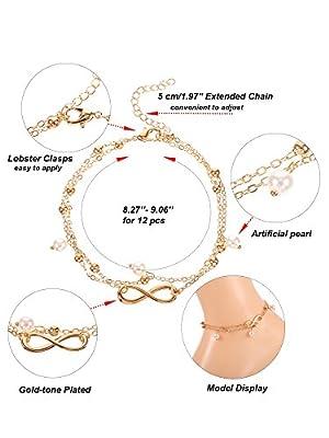 Hestya Ankle Chain Bracelet Adjustable Barefoot Beach Anklet Boho Foot Jewelry Set for Women Girls