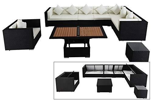 OUTFLEXX Stilvolles Lounge-Set aus hochwertigem Polyrattan in schwarz, 3-Sitzersofa, 2-Sitzer + 2 Mittelelemente, Sessel, Beistelltisch, höhenverst. Tisch, inkl. Kissenpolster, Boxfunktion