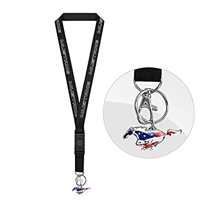 iPick Image Ford Mustang Black Lanyard with USA Flag Pony Key Charm: Automotive