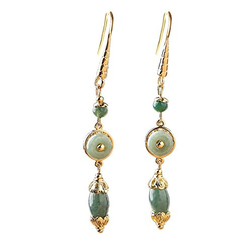 GPC Jade Earrings Chinese style retro ultra-long long earrings ethnic style temperament jade pendant ear ear clip female,Ordinary ear ho,earring