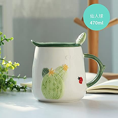 MOCER Creative de Taza de cerámica con tapa cuchara Home Office CUPS CUPS Cute hembra taza Desayuno leche de avena, Cactus: Amazon.es: Hogar