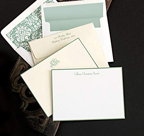 Hand Bordered Correspondence Cards - Sage Hand Bordered Correspondence Cards - Set of 25-4110