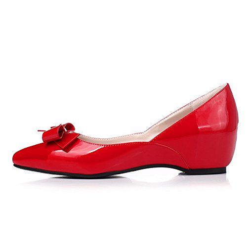 AgooLar Damen Lackleder Ziehen auf Spitz Zehe Niedriger Absatz Rein Pumps Schuhe Rot
