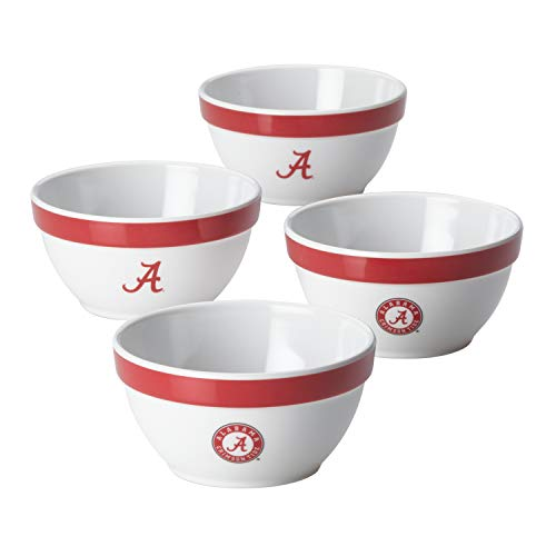 College Kitchen Collection 47677 4-Piece Bowl Melamine Serveware Set, White with Alabama Crimson Tide Team Logo ()