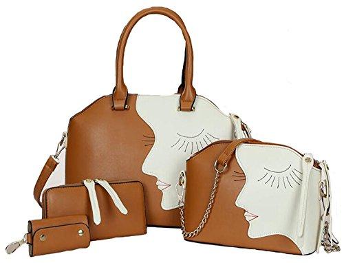 1 Juego de Bolsas para Mujer - Bolsa de Piel + Cartera + Bolso + Paquete de Claves/Bolso Set - Marrón Marrón