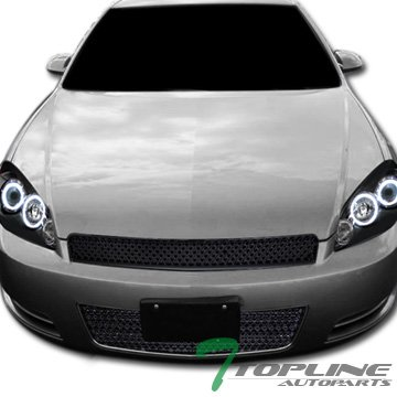 Topline Autopart Black Mesh Front Upper Hood Grill + Lower Bumper Grille ABS For 06-13 Chevy Impala ; 14-16 Impala Limited