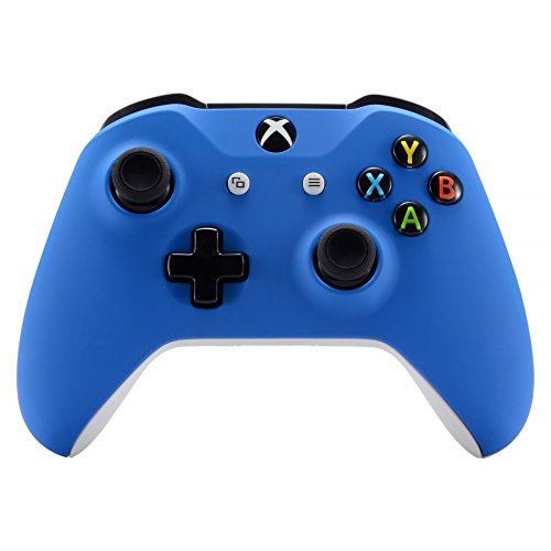 (eXtremeRate Blue Faceplate Cover, Soft Touch Front Housing Shell Case, Comfortable Soft Grip Replacement Kit for Microsoft Xbox One X & One S Controller)