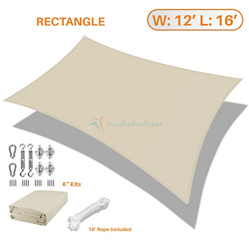 Sunshades Depot 12'x16' Rectanlge Waterproof Knitted Shade Sail With 6 inch Hardware Kit Curved Edge Beige 180 GSM UV Block Pergola Carport Canopy Awning Customize Available