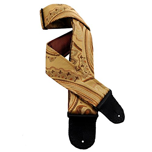 Jacquard Tapestry Handmade Guitar Strap Gold, Copper, Chocolate French Provincial Floral - Copper Chocolates