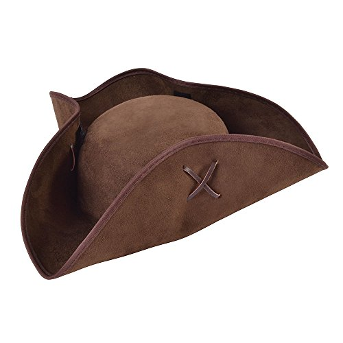 (Adult's Brown Suede-look Pirate Tricorn Hat)