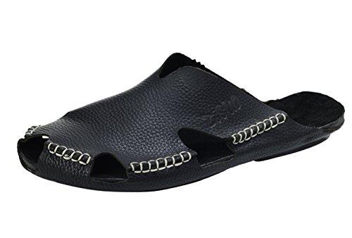 Cuir Plage Mules Bout Insun Homme Noir Chaussures Cousues Fermé Sandales Plat qFxxpgE4