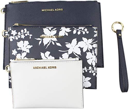 MICHAEL Michael Kors Women's Medium Jet Set Travel Floral Wristlet Trio In Navy White 35H8GTVW9L