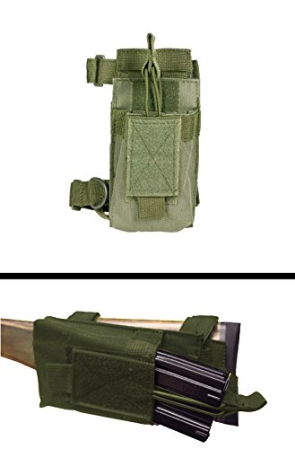 (Ultimate Arms Gear Tactical MOLLE PALS Strap Mounted Military Magazine Mag Ammo Pouch Holder Carrier With Stock Buttstock Adapter , OD Olive Drab Green)