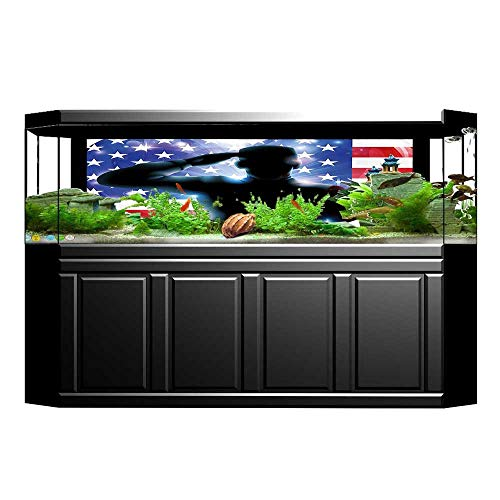 UHOO2018 Background Fish Tank Decorations July Decor Funny French Bulldog with Sunglasses in American Costume Hiding Graphic Art Fish Tank Backdrop Static Cling Wallpaper Sticker 35.4