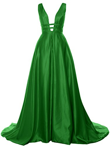 Prom Formal Ball Satin Gown Open Long Back Green Evening Deep Neck Dress V MACloth IqH1BZn