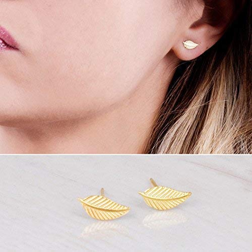 Tiny Gold Leaf Stud Earrings - Designer Handmade Small Feather Post Earrings (Vermeil Plated Earring Studs)