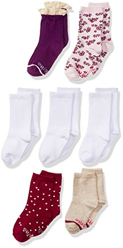 Price comparison product image Stride Rite Little Girls' 7 Pack Fun Fashion Crew, Macy Meadow, Sock: 5-6.5/Shoe: 3-7