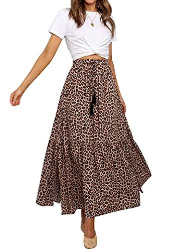 PLNCAYFZ Dresswel Women Summer Split Hem Waist Drawstring Flowy Leopard Print Midi Skirt