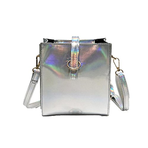 WILLTOO Women Messenger Shoulder Bags, PU Leather Handbags Laser Satchel Tote Bag Fashion Crossbody Bag (Silver)