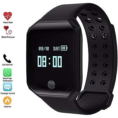 MHCYKJ Fitness Tracker Smart Watch Heart Rate Blood Pressure Pulse Monitor Fitness Tracker Wristband Waterproof Bracelet Black Estimated Price -