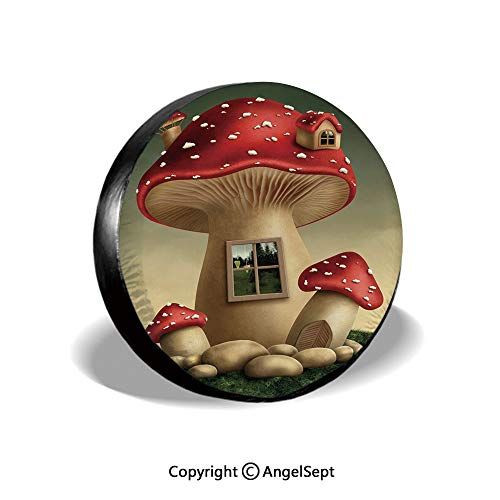 Tire Cover,Alone Fantasy Mushroom House in Fantasy Forest Cottage Window Surreal Decorative,Light Brown Green Red,for Jeep Trailer RV SUV Truck Camper Travel Trailer Accessories,16 Inch