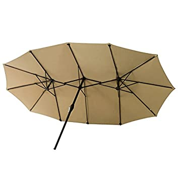 FLAME SHADE 15 Twin Patio Outdoor Market Umbrella Double Sided for Balcony Table Garden Outside Deck or Pool, Rectangular, Beige