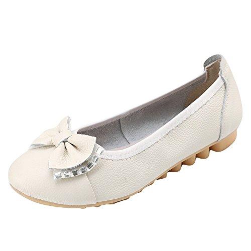 Charme Pied Femmes Arcs Bout Rond Confort Pompes Plates Chaussures Blanc Cassé