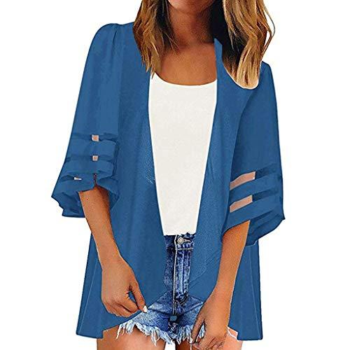 - NEEKEY Women Casual Kimono Cardigan Mesh Panel 3/4 Bell Sleeve Pure Color Chiffon Loose Top Shirt Blouse Plus Size Blue