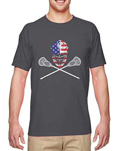 USA Crossed Lacrosse Sticks & Helmet - Lax Bro Men's T-Shirt (Charcoal, XX-Large)