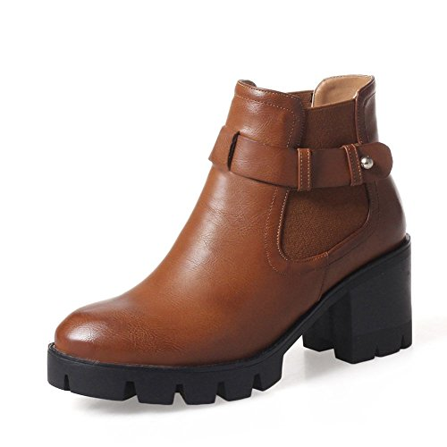 KingRover Women's Strap Buckle High Chunky Heel PU Ankle Boots Brown aUb3BdRmo