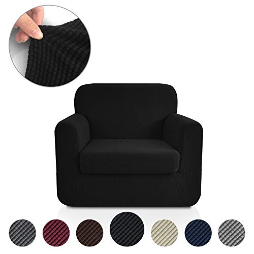 Rose Home Fashion Jacquard Stretch 2 Separate Pieces Chair Cover, Chair Slipcover with Separate Cushion Cover Couch-Polyester Spandex Sofa Slipcover&Couch Cover for Dogs(Chair: Black) 2 Piece Leather Chair