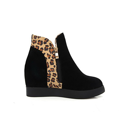 Boots Low Closed Toe Color Round Zipper Assorted Women's AmoonyFashion High top Heels Black P1Sqca5