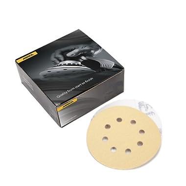 Mirka 23-615-AP Gold 5-Inch 8-Hole Dustless Hook-and-Loop Sanding Disks, 10 Each of 5 Grits
