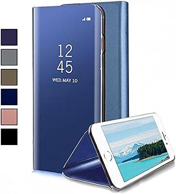 226fc9c7f0f COOVY® Funda para Apple iPhone 8 Aspecto metálico, armazón, Lujosa, Ventana  de Espejo Transparente, visión Clara, Soporte   Color Azul