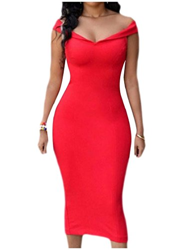 Cut Zip Out Dress Red Solid Business Coolred up Colored Women Shoulder AHwnxPS
