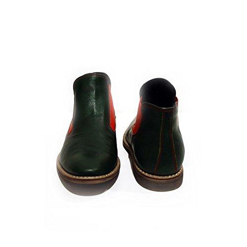 Cuir Hommes de des Cuir sur pour Garda Cuir Glisser Vert Souple Modello Chelsea Bottines Italiennes Bottes Handmade Vachette pYwA7Uq6