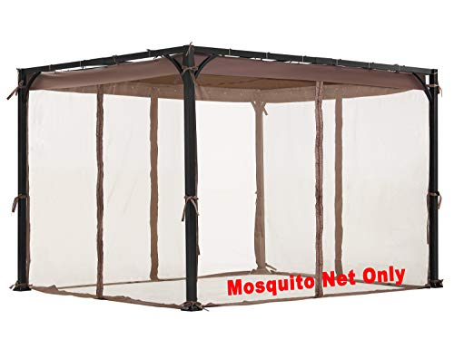 ALISUN Mosquito Net for Flat-Roof Pergola - Mesh Bug Net Only (8 ft. x 10 ft, Brown) (Insect Mesh Netting)